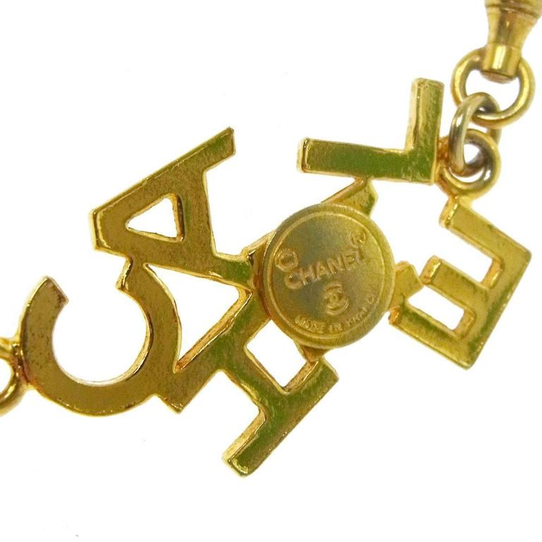Chanel Vintage Gold 'CHANEL' Charm Letters Choker Necklace For Sale 1