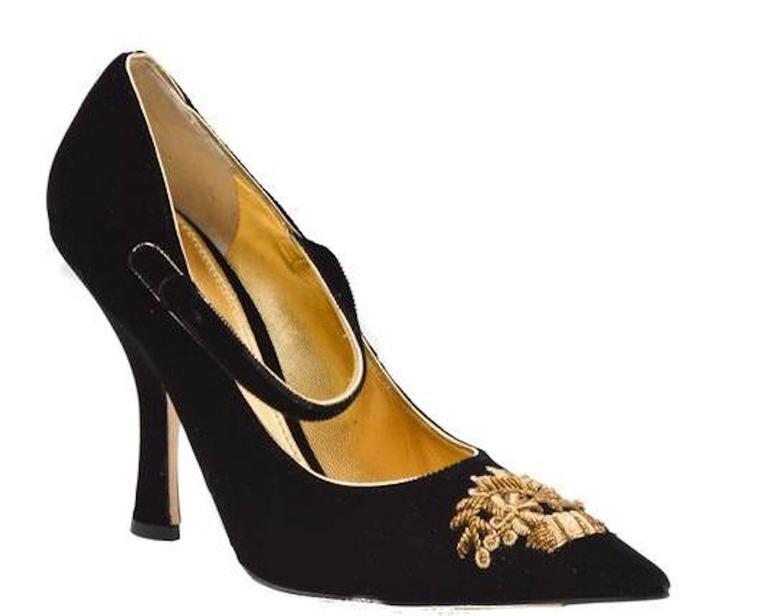 Women's Dolce & Gabbana NEW & SOLD OUT RUNWAY Black Gold Evening Mary Jane Heels in Box For Sale