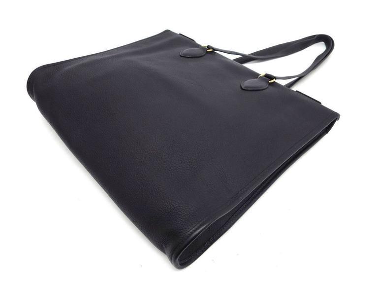 Black Hermes Leather Oversize Carryall Briefcase Travel Shopper Shoulder Tote Bag For Sale