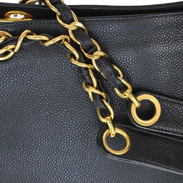 Chanel Vintage Caviar Carryall Shopper Weekender Travel Shoulder Tote Bag 3