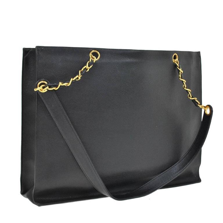 Chanel Vintage Caviar Carryall Shopper Weekender Travel Shoulder Tote Bag 4