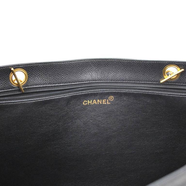 Chanel Vintage Caviar Carryall Shopper Weekender Travel Shoulder Tote Bag 8