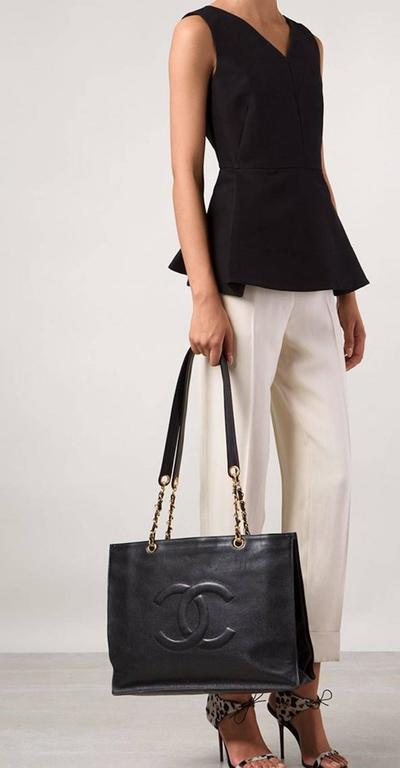 Chanel Vintage Caviar Carryall Shopper Weekender Travel Shoulder Tote Bag 2
