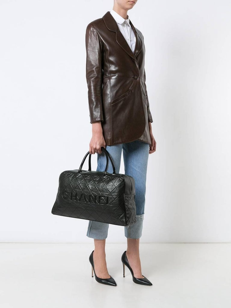 Chanel Black Leather Men's Women's Travel Bowling Duffle Top Handle Tote Bag 2