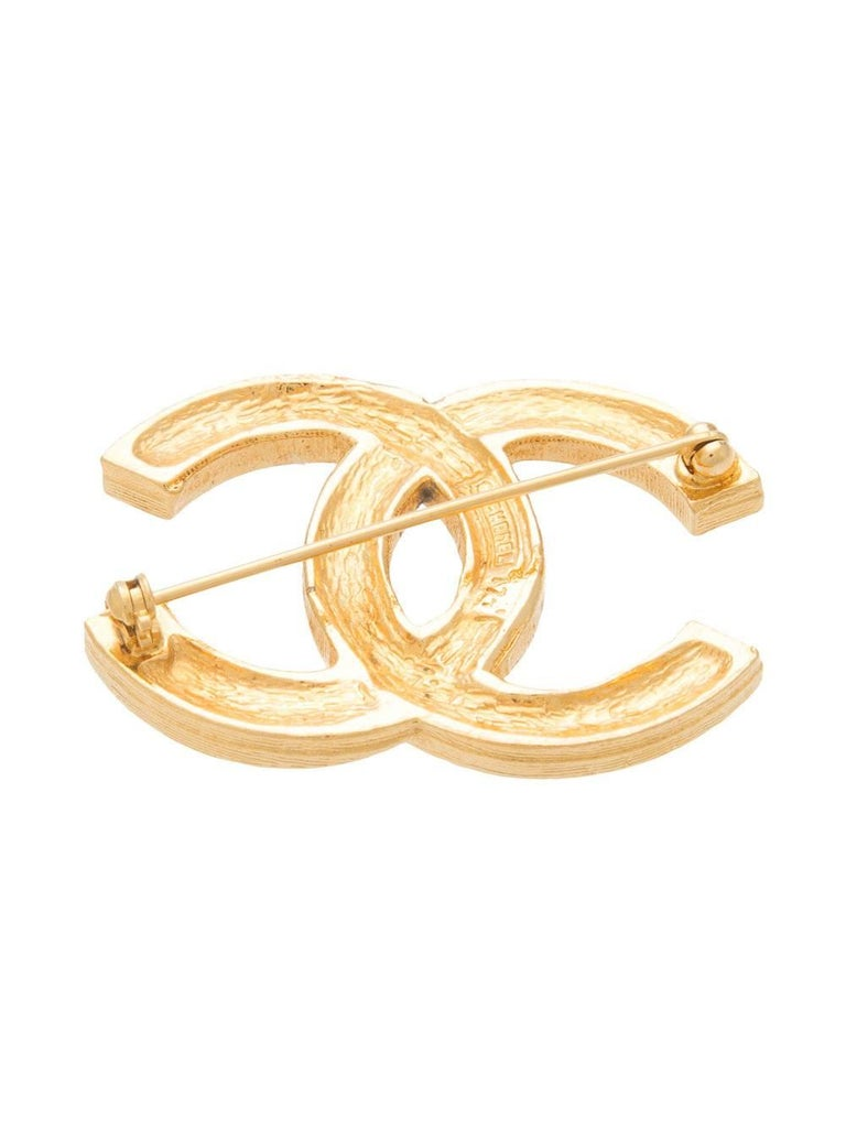Chanel Vintage Gold Double Tour Rhinestone CC Evening Pin Brooch For Sale at 1stdibs