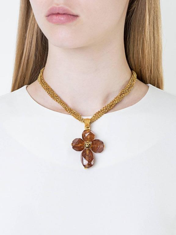 Chanel Vintage Rare Cognac Gripoix Gold Cross Charm Evening Necklace in Box 2