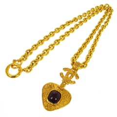 Chanel Vintage Rare Gold Charm Gripoix Heart Long Evening Drape Necklace in Box