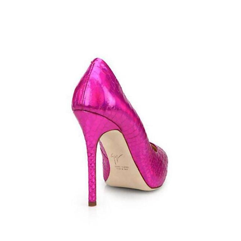 Giuseppe Zanotti NEW & SOLD Textured Snake Leather Hot Pink Pumps Heels in Box 2