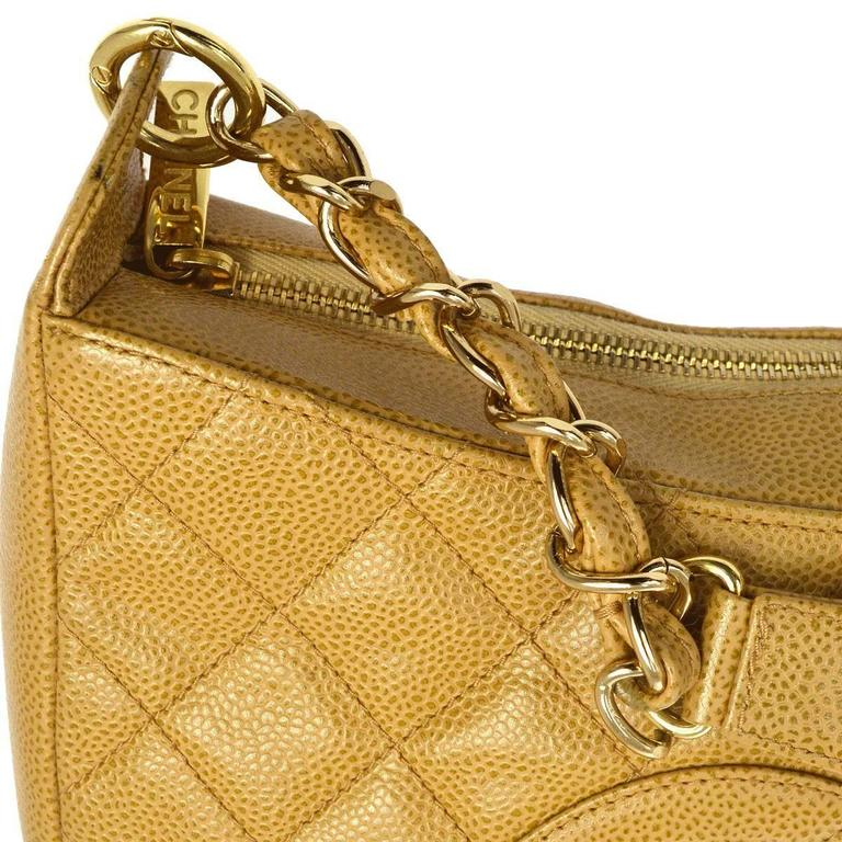 Chanel Nude Caviar Leather Gold Evening Top Handle Satchel Chain Shoulder Bag 3
