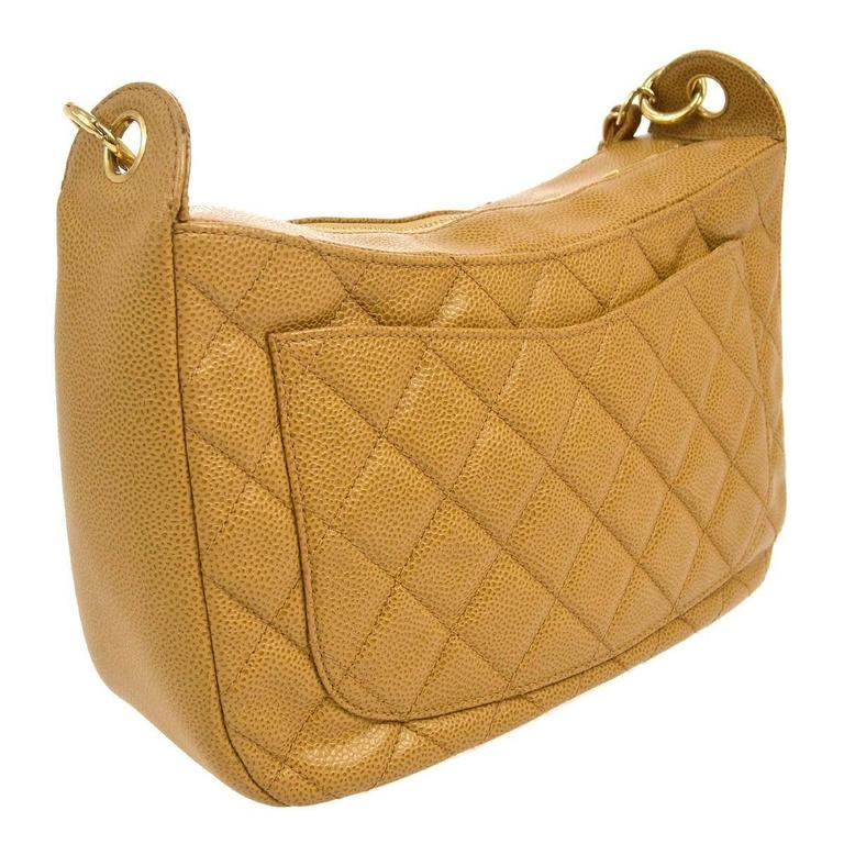 Women's Chanel Nude Caviar Leather Gold Evening Top Handle Satchel Chain Shoulder Bag For Sale