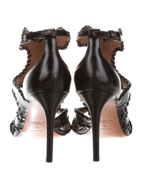 Alaia NEW & SOLD OUT Black Leather Fringe Cut Out Sandals Heels in Box 4