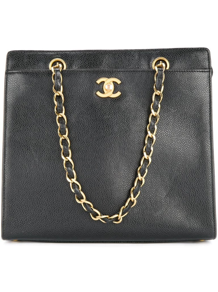 Chanel Vintage Black Caviar Leather Large Carryall Shopper Shoulder Bag In Good Condition For Sale In Chicago, IL