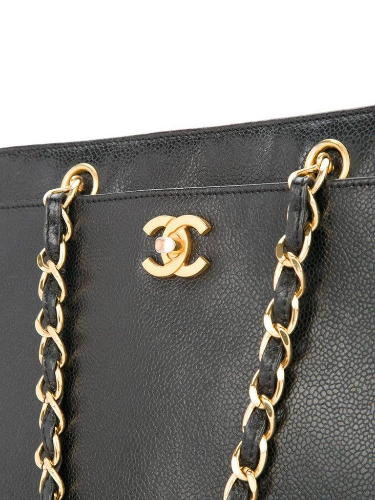Women's Chanel Vintage Black Caviar Leather Large Carryall Shopper Shoulder Bag For Sale