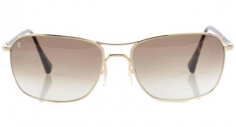aa7e37e4136 Louis Vuitton Gold Tortoise Men s Women s Unisex Aviator Sunglasses W Case    Box In Good