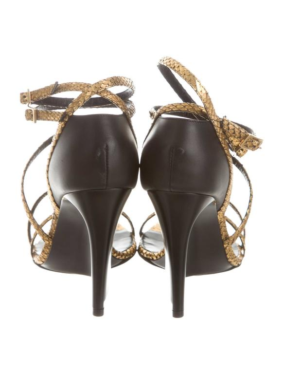 Lanvin New Gold Snake Brown Leather Wedge Strappy Sandals