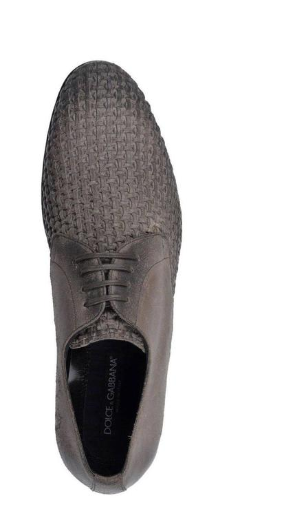 Dolce & Gabbana New Men's Leather Woven Brogue Lace Up Loafers Shoes in Box 4