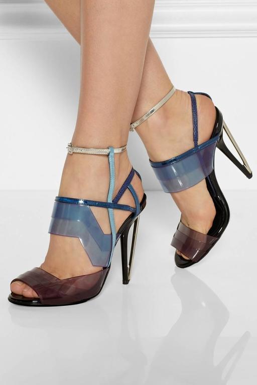 Fendi New Runway Blue Purple Silver Cut Out Sandals Heels in Box 2