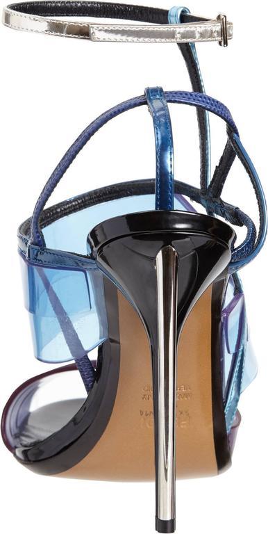 Fendi New Runway Blue Purple Silver Cut Out Sandals Heels in Box 3