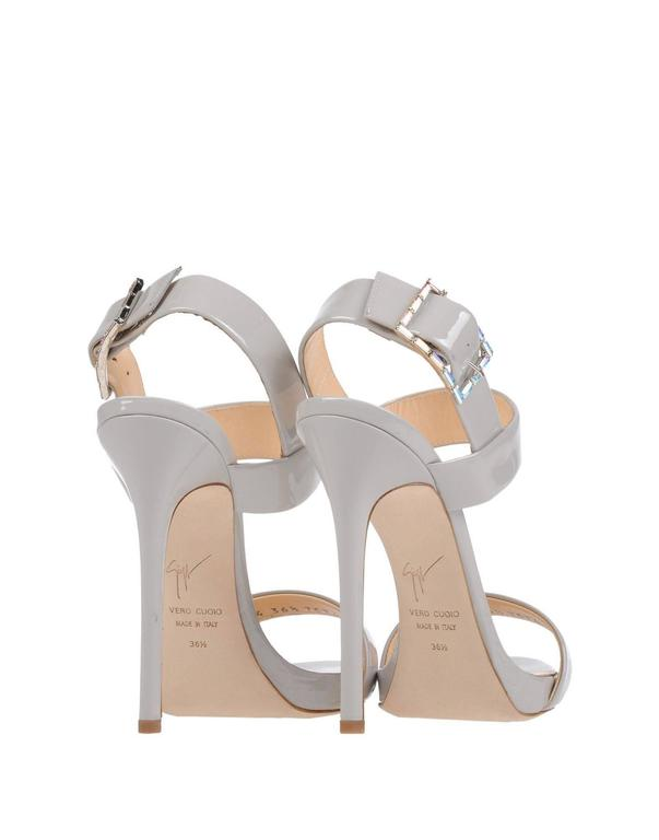 Giuseppe Zanotti New Gray Patent Leather Sandals Heels in Box 4