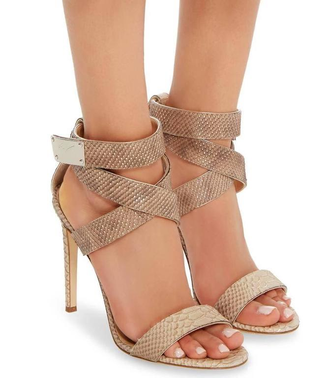 62591be8d27 CURATOR S NOTES Giuseppe Zanotti New Nude Snake Print Strappy Heels Sandals  in Box available at Newfound