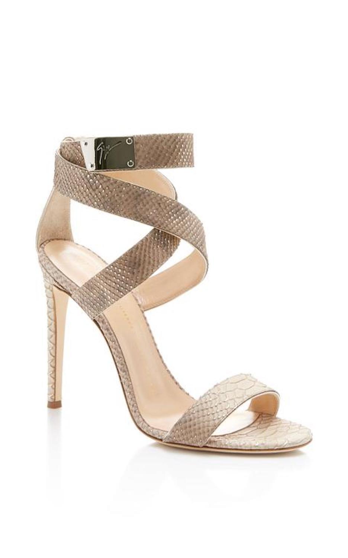 4dd31c4d1411 Giuseppe Zanotti New Nude Snakeskin Print Ankle Strap Sandals Heels in Box  at 1stdibs