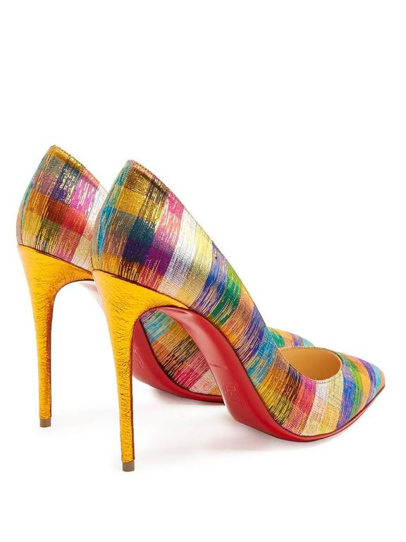 Women's Christian Louboutin New Rainbow Stripe Canvas Pigalle High Heels Pumps in Box