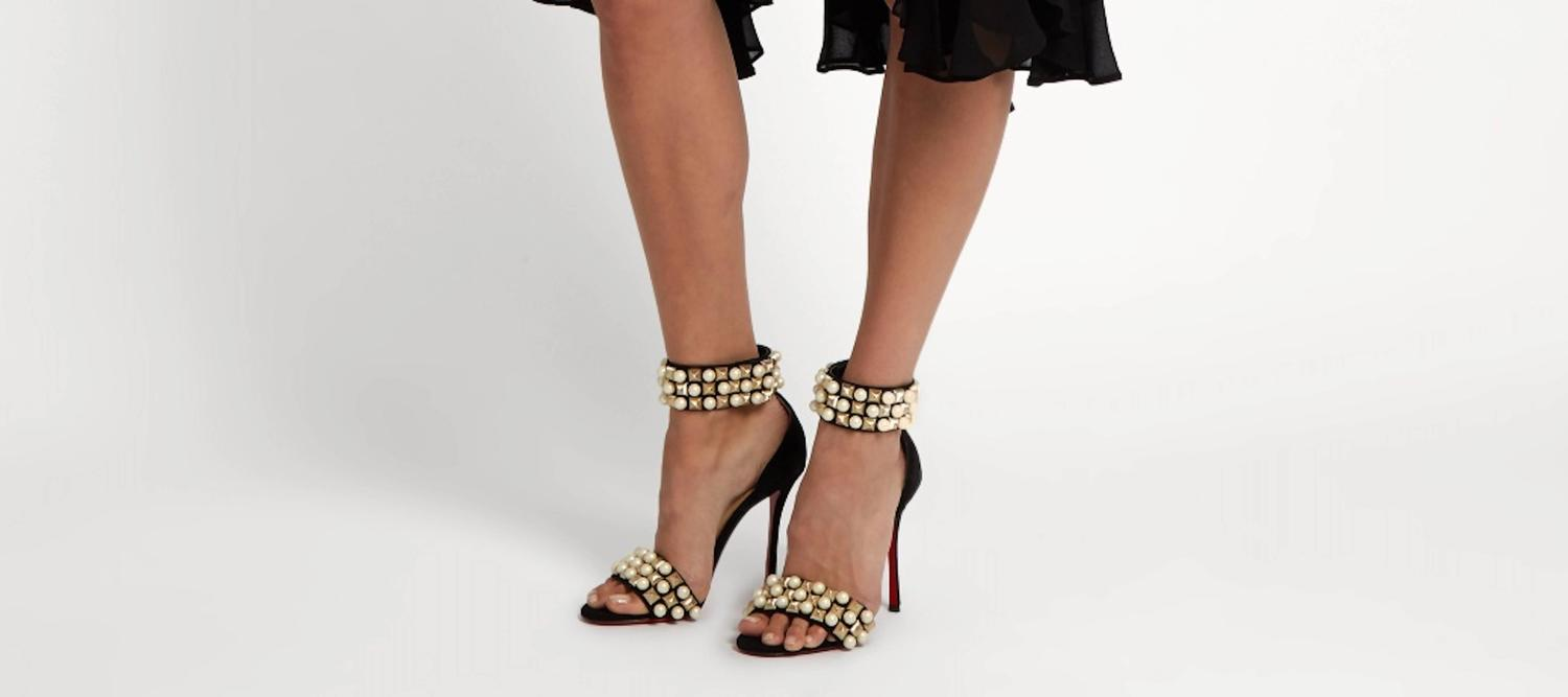 e85dca745fed Christian Louboutin New Black Suede Gold Pearl Sandals Evening Heels in Box  at 1stdibs