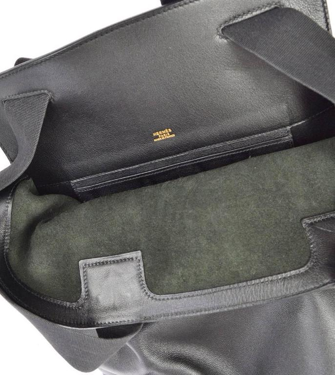 Hermes Vintage Black Leather Men's Women's Travel Carryall Shoulder Backpack For Sale 3