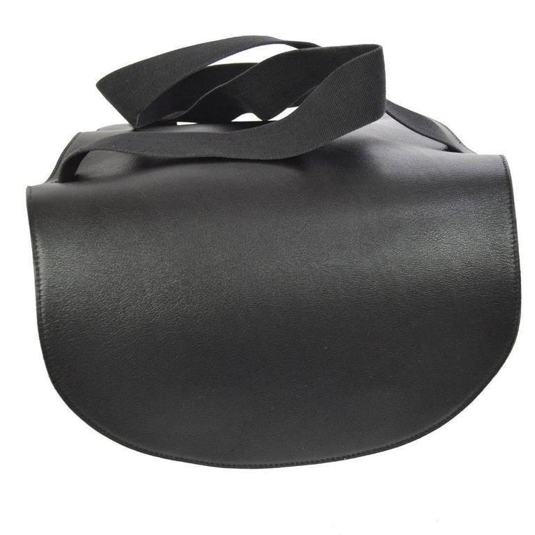 Hermes Vintage Black Leather Men's Women's Travel Carryall Shoulder Backpack For Sale 1