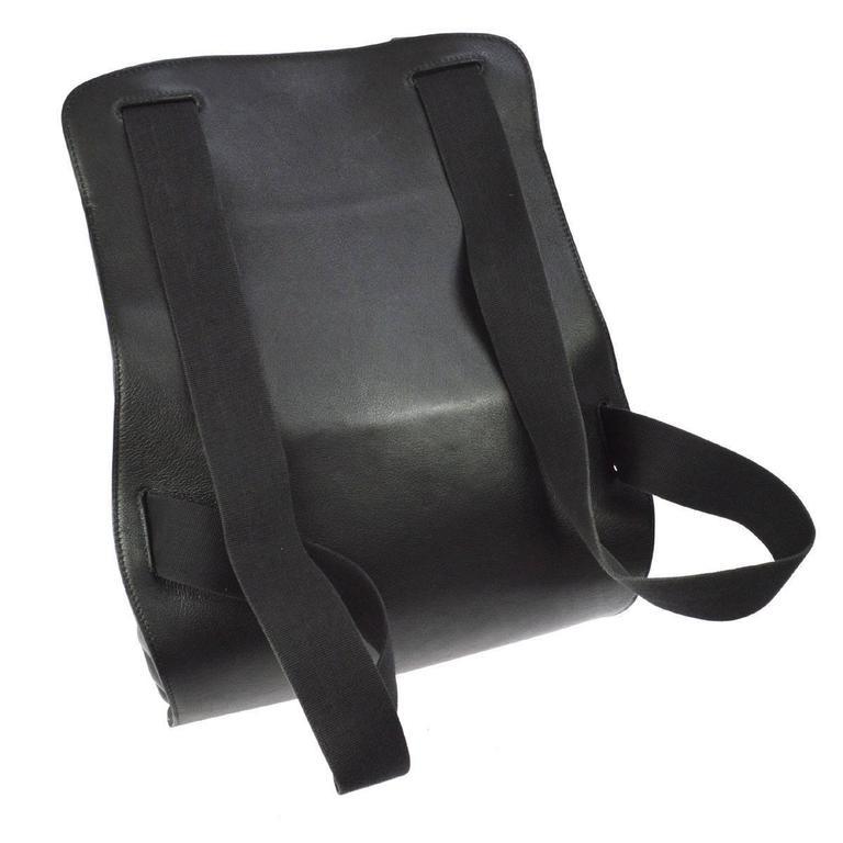 Hermes Vintage Black Leather Men's Women's Travel Carryall Shoulder Backpack In Excellent Condition For Sale In Chicago, IL