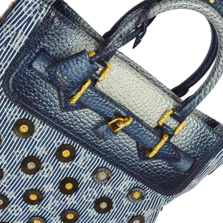 Louis Vuitton Limited Edition Blue Top Handle Satchel Tote Shoulder Bag in Box 3