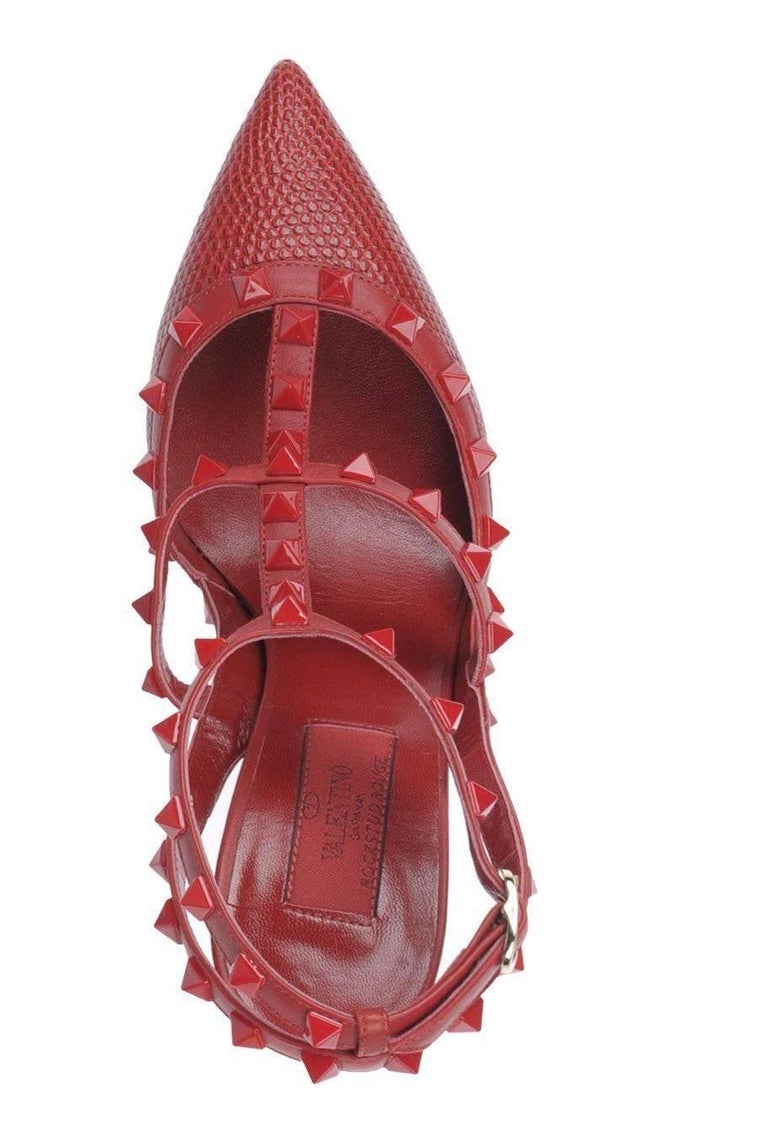 Valentino New Sold Out Red Crocodile Print Leather Rockstud Heels Pumps in Box 4