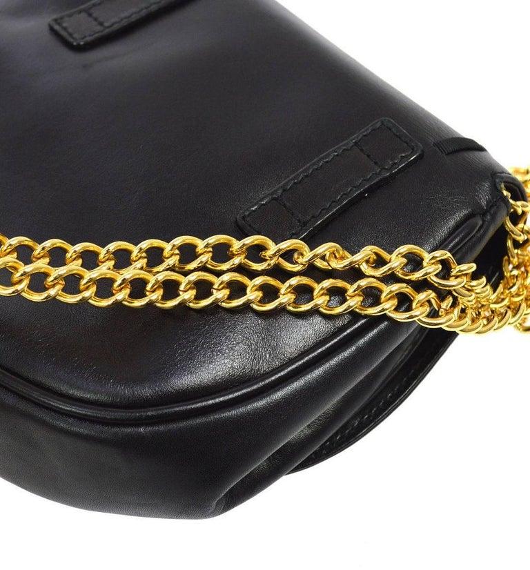 Women's Salvatore Ferragamo Black Leather Gold 2in1 Fanny Pack Belt Bag For Sale
