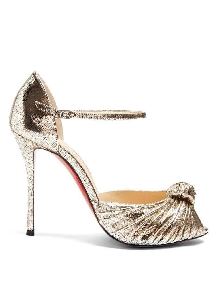 Women's Christian Louboutin New Gold Metallic Bow Evening Sandals Heels in Box For Sale