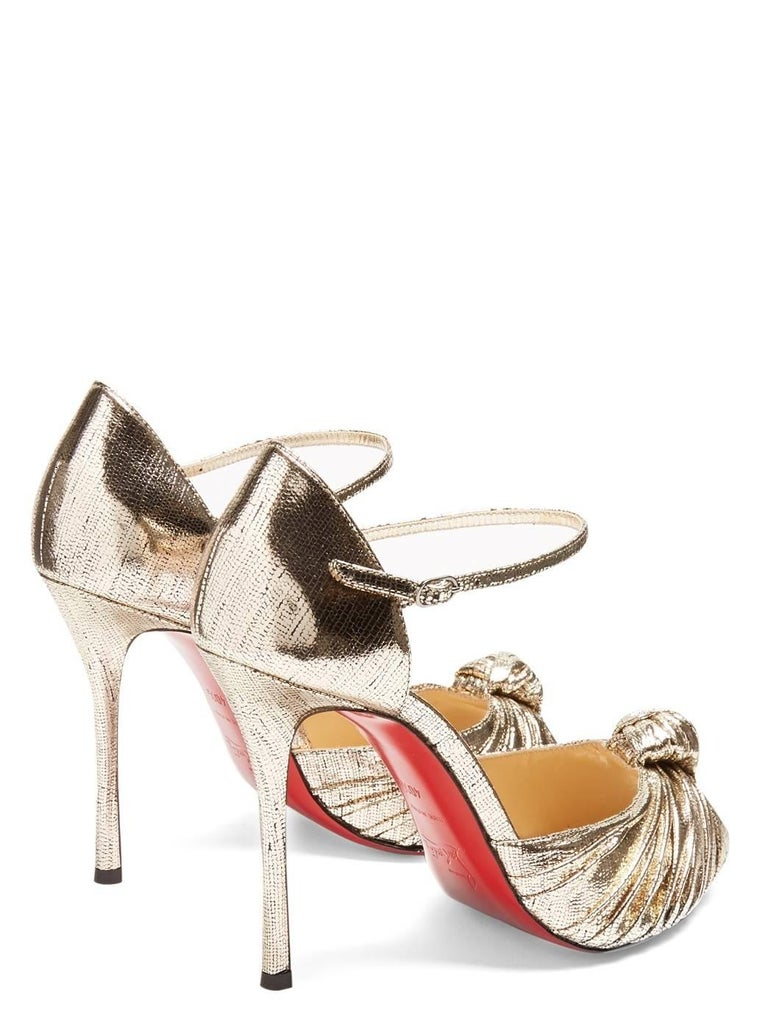 Christian Louboutin New Gold Metallic Bow Evening Sandals Heels in Box For Sale 1