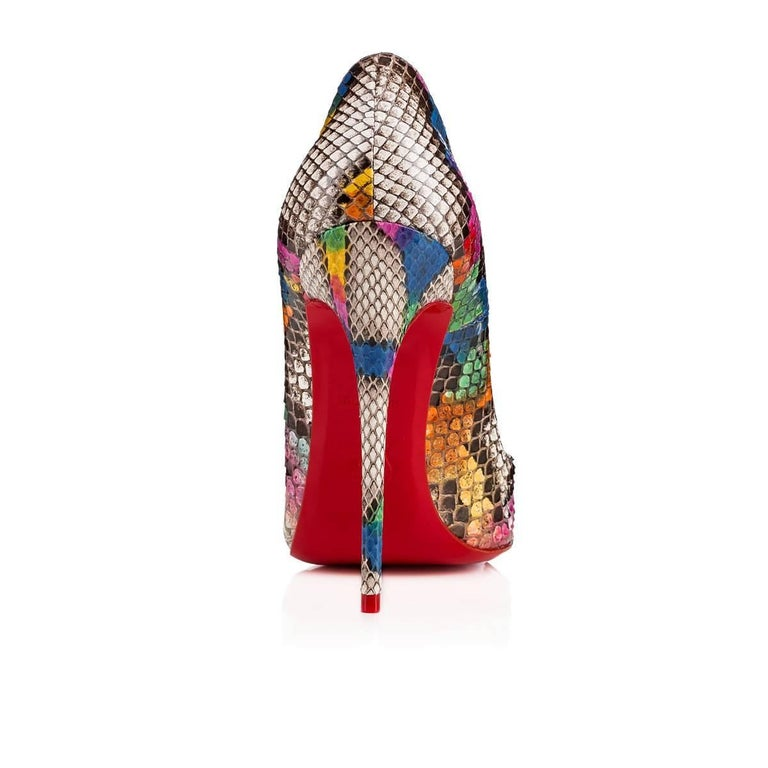 Women's Christian Louboutin New Limited Edition Multi Snake So Kate Heels Pumps in Box For Sale