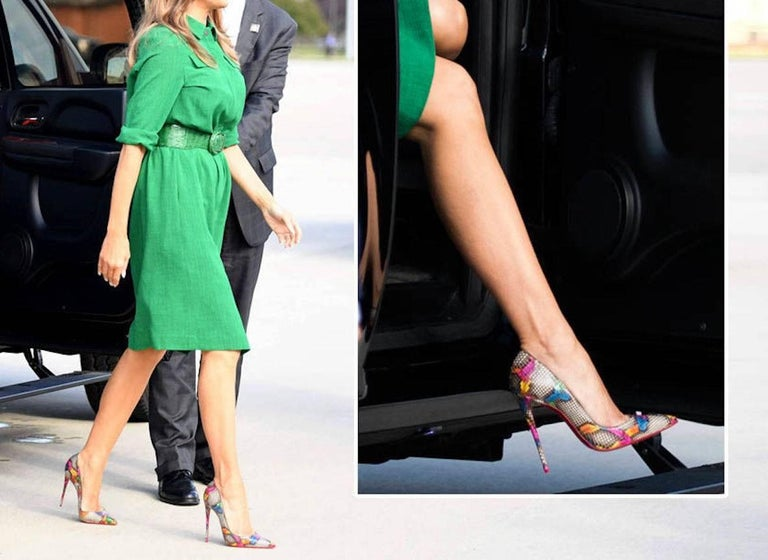 CURATOR'S NOTES  AS WORN BY THE FIRST LADY! Christian Louboutin New Limited Edition Black Multi Color Rainbow Snakeskin So Kate Evening Heels Pumps in Box available at Newfound Luxury   Size IT 36.5 - Not your size?  Message us to help you find