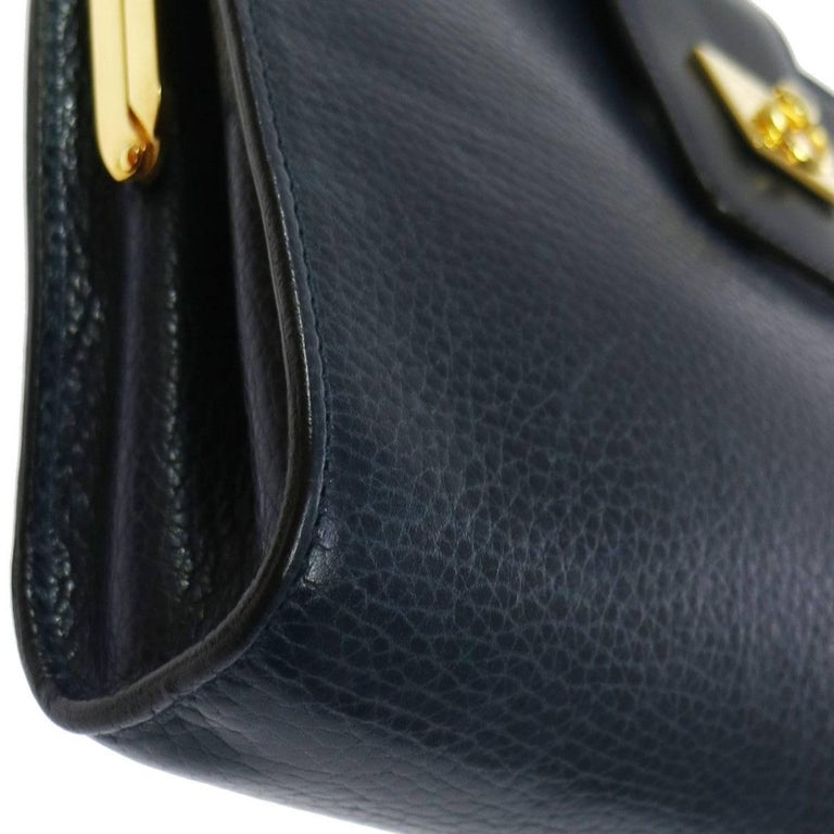 Celine Navy Blue Leather Toggle Gold Flap Evening Clutch Bag In Excellent Condition For Sale In Chicago, IL