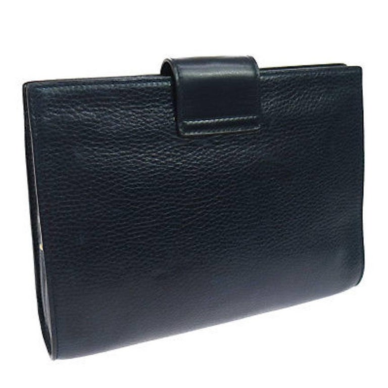Women's Celine Navy Blue Leather Toggle Gold Flap Evening Clutch Bag For Sale