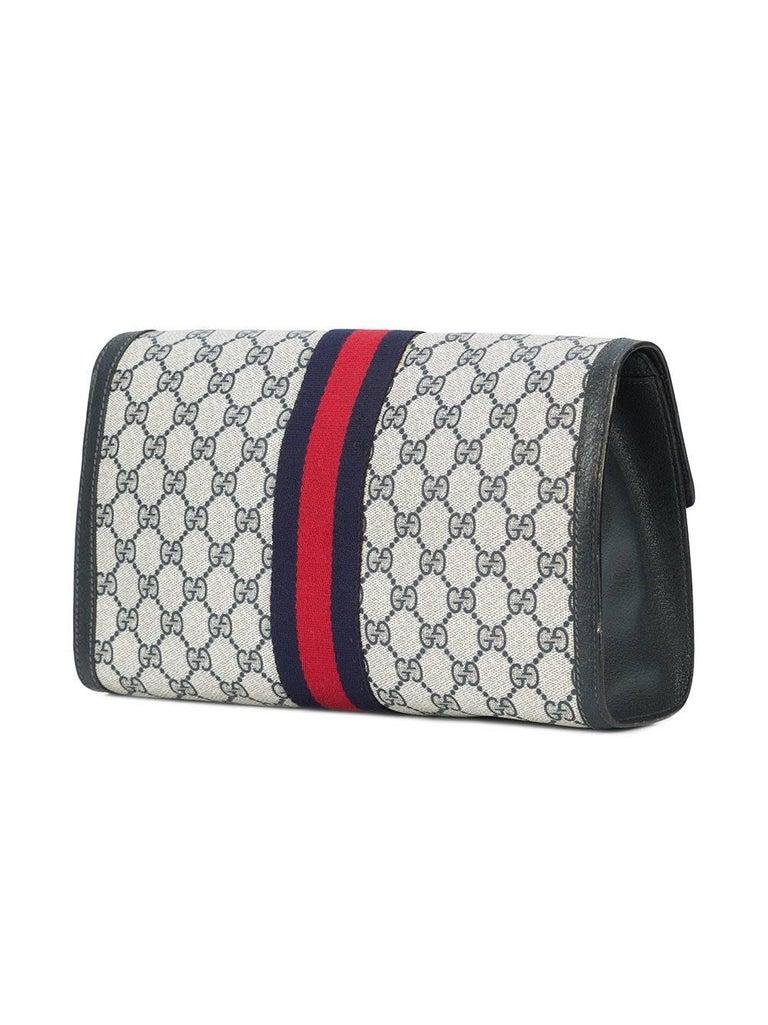b399ffb2045c0c Gucci Vintage Web Supreme GG Blue Red Stripe Monogram Large Evening Clutch  Bag In Good Condition