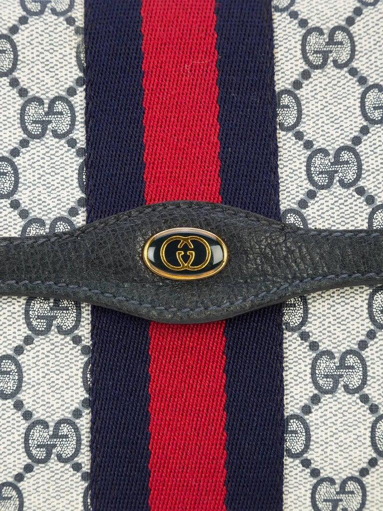 9bcb2941c704eb Gray Gucci Vintage Web Supreme GG Blue Red Stripe Monogram Large Evening Clutch  Bag For Sale