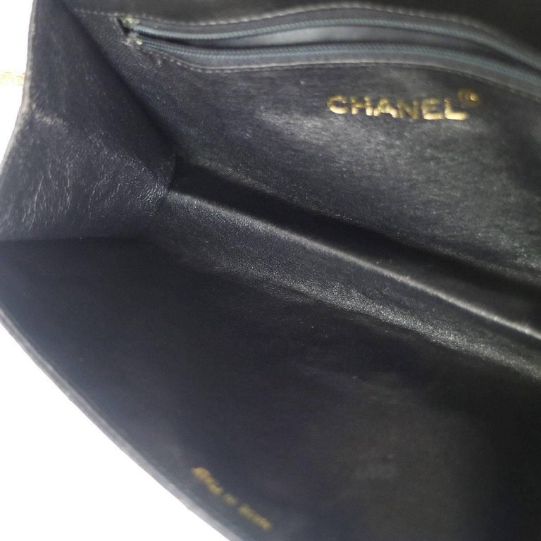 Chanel Black Lizard Leather Gold Chain 2 in 1 Clutch Flap Evening Shoulder Bag For Sale 1