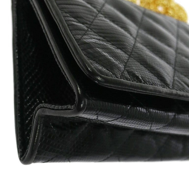 Women's Chanel Black Lizard Leather Gold Chain 2 in 1 Clutch Flap Evening Shoulder Bag For Sale