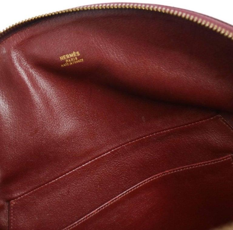 Hermes Vintage Bordeaux Red Leather Evening Bowling Top Handle Satchel Tote Bag 5