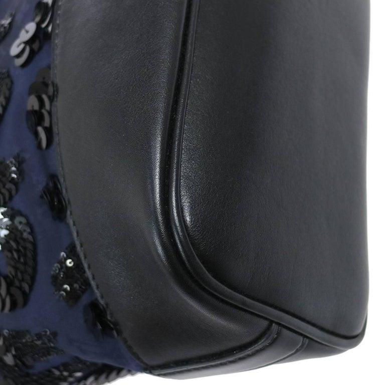 Louis Vuitton Black Navy Blue Sequin Evening Top Handle Satchel Shoulder Bag For Sale 3