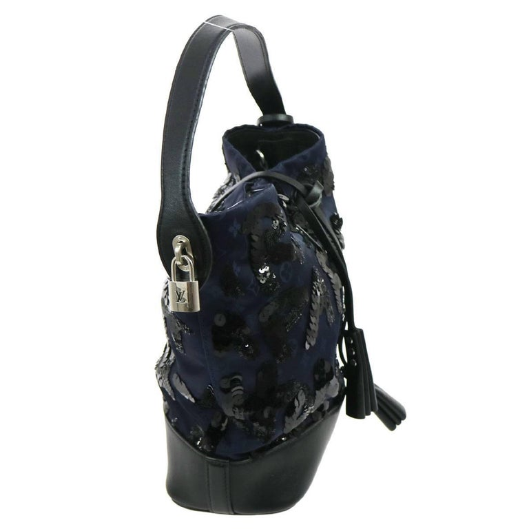 Louis Vuitton Black Navy Blue Sequin Evening Top Handle Satchel Shoulder Bag For Sale 1