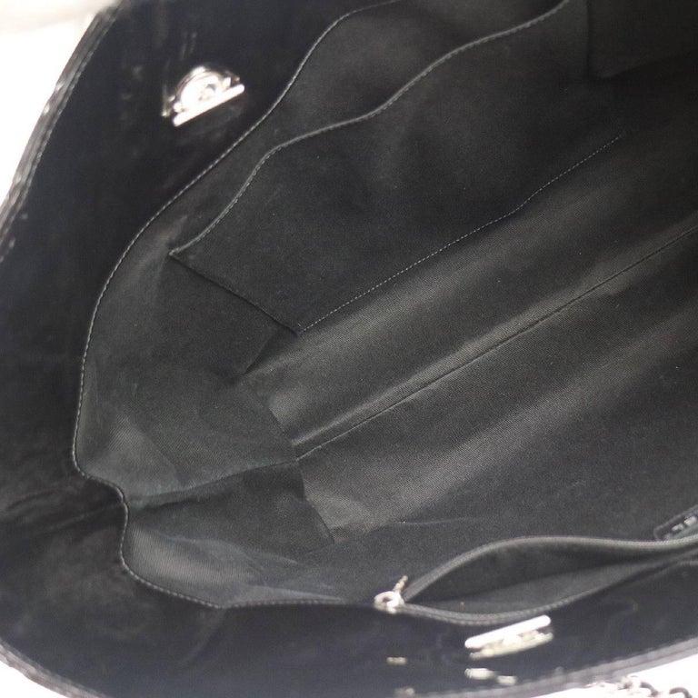 Chanel Black Patent Silver Large Carryall Travel Shopper Bag For Sale 2