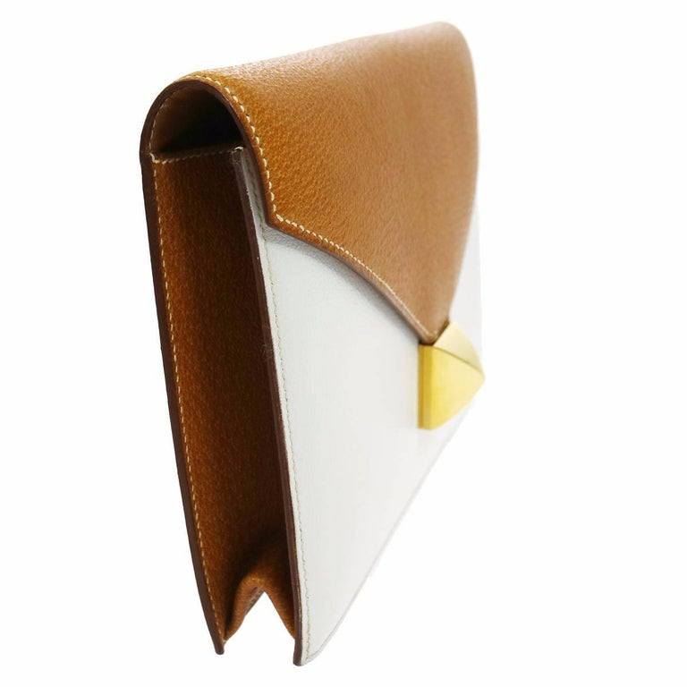 Hermes Cognac Colorblock Leather Envelope Evening Clutch Bag 3