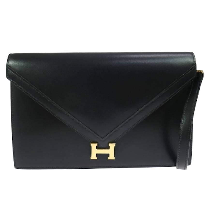 Hermes Suede Envelope Clutch Silver Button