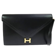 Hermes Black Leather H Envelope Evening Shoulder Flap Bag